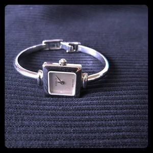Silver Square face ladies bangle watch